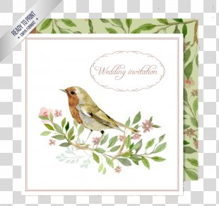 Wedding Invitation Bird Watercolor Painting Clip Art - Watercolor Flowers Wedding Invitation Card Vector Material PNG