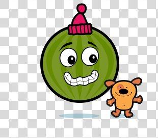 Smiley Green Text Messaging Fruit Clip Art - Fruit Face PNG