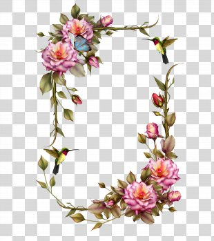 Borders And Frames Picture Frames Flower Wreath Clip Art - Rose Frame PNG