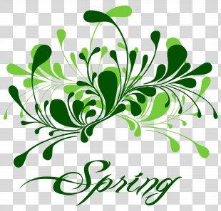 Spring Break Clip Art - Green Spring Decor Clipart PNG