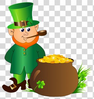 Leprechaun Saint Patrick's Day Clip Art - Leprechaun With Pot Of Gold Transparent PNG Clip Art Image PNG
