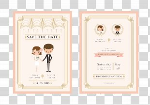 Wedding Invitation Bridegroom Cartoon - Exquisite Cartoon Wedding Invitation Design Vector Material PNG