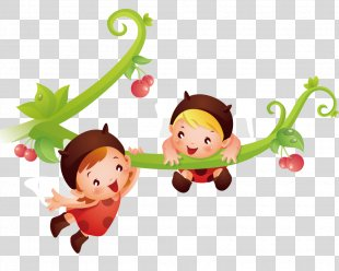 Vertebrate Cartoon Text Character Illustration - Children Playing On A Tree Branch PNG