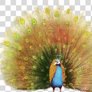 Paper Oil Painting Peafowl - Peacock PNG