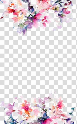 IPhone 5s Flower Paper Wallpaper - Watercolor Flowers Border PNG