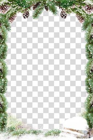 Christmas Decoration Santa Claus - Green Leaves Border Snow PNG