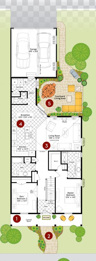 House Courtyard Garage Floor Plan Moroccan Riad - Plan PNG