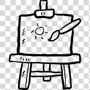 Black And White Easel Painting Canvas Clip Art - Painting PNG