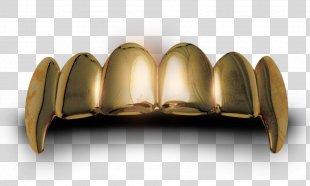 Gold Teeth Human Tooth - Textured Gold Teeth PNG