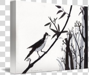 Paper Watercolor Painting Black And White Drawing Canvas Print - Bird Watercolor PNG