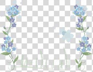 Floral Design Blue Flower Clip Art Borders And Frames - Flower PNG