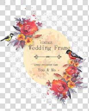 Wedding Invitation Flower - Vector Watercolor Flowers Wedding Invitation Poster PNG