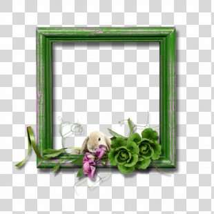 Border Flowers Green Picture Frame - Green Floral Border PNG