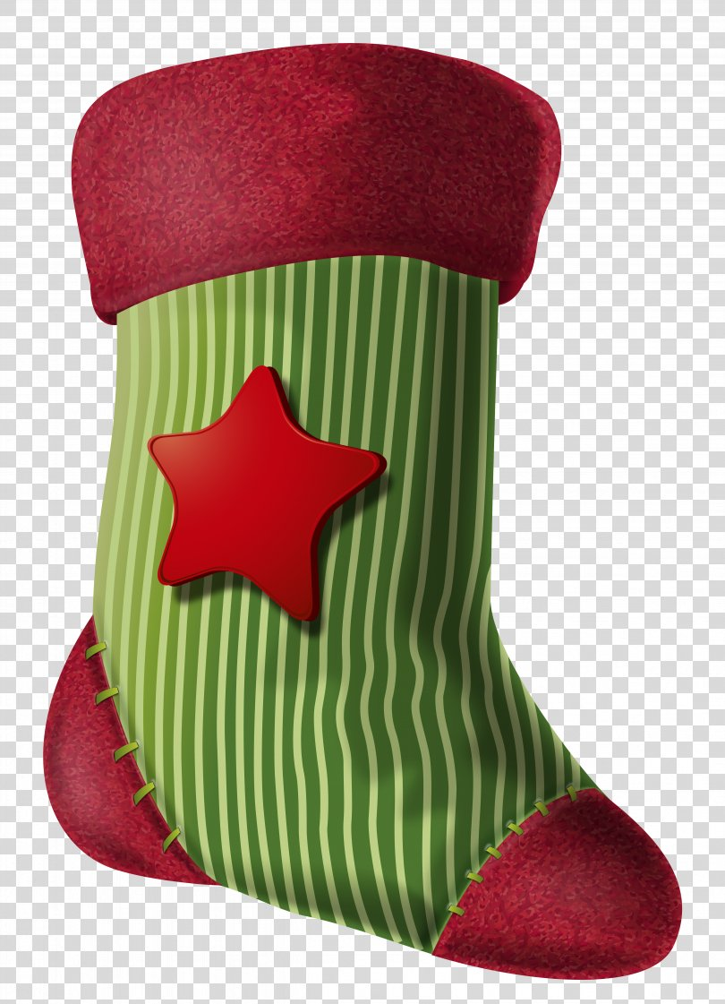 Christmas Stocking Clip Art, Christmas Stocking With Star Clipart Image PNG