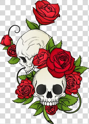 Calavera Skull Rose T-shirt Drawing - Vector Hand Painted Skull And Flowers PNG