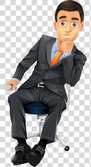Cartoon Character Businessperson - Hand-painted Cartoon Business Man Sitting On A Chair PNG