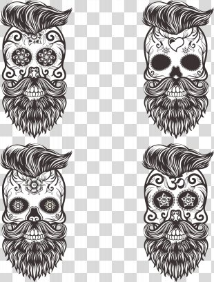 Calavera Skull Euclidean Vector Drawing Day Of The Dead - Vector Painted Mustache Skull PNG