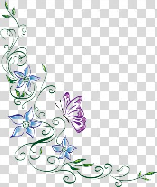 Floral Design Clip Art Image - Border Design Flower And Butterfly PNG