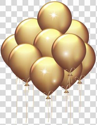 Gold Balloon Clip Art - Gold Balloons Transparent Clip Art Image PNG