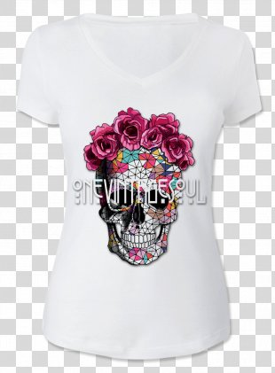 Calavera Skull Drawing Flower Day Of The Dead - Skull T Shirt Printing PNG