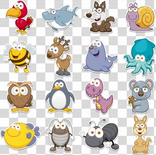 Funny Animal Clip Art - Q Version Animal Vector Collection PNG