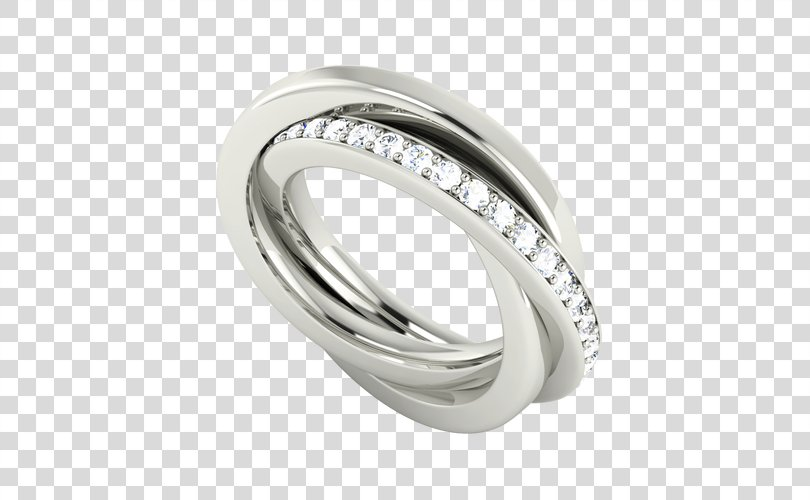 Russian Wedding Ring Engagement Ring Diamond, Two Silver Wedding Rings PNG