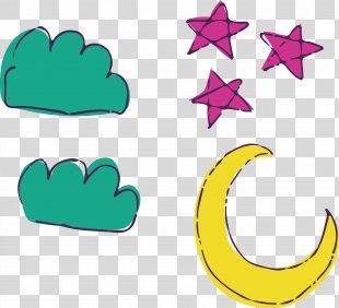 Moon And Stars Drawing Cartoon - Watercolor Moon Stars PNG