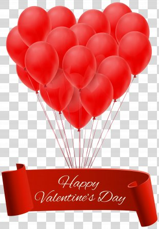Valentine's Day Heart Balloon Clip Art - Happy Valentine's Day Banner With Balloons PNG Clip Art Image PNG