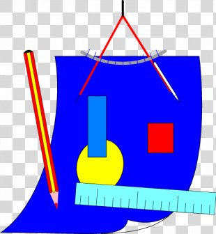Ruler Pencil Compass Protractor Set Square - Vector Drawing Tools PNG