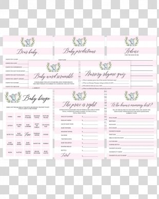 Wedding Invitation Baby Shower Game Paper Diaper - Elephant Baby Shower PNG