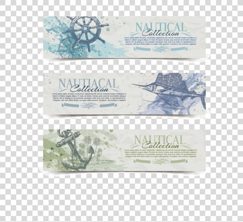 Photography Web Banner Royalty-free Illustration, Vintage Nautical Banner Vector Material PNG