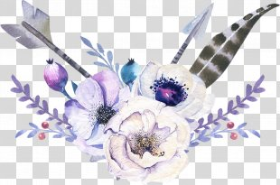 Arrow Bohemianism - Elegant Watercolor Bohemian Wind Arrow Flowers PNG