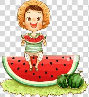 Watermelon CorelDRAW Poster Illustration - Cartoon Boy Sitting On Watermelon Eating Watermelon Illustration PNG