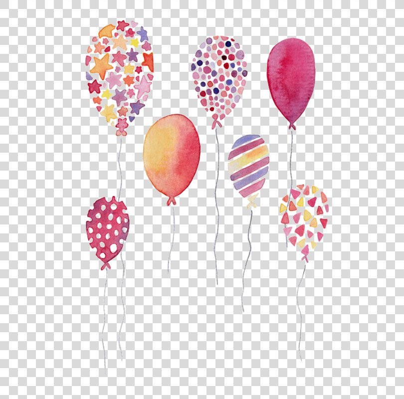 Birthday Balloons Watercolor PNG