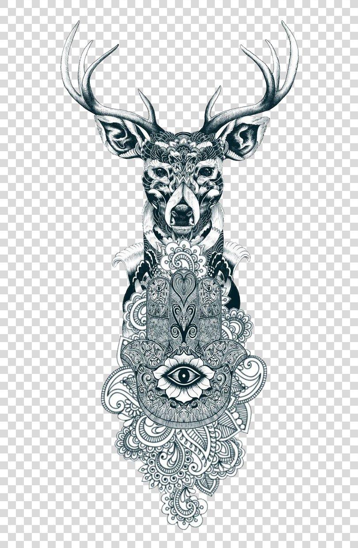 Reindeer Tattoo Drawing, Tattoo Art PNG, Free Download