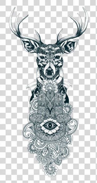 Reindeer Tattoo Drawing - Tattoo Art PNG