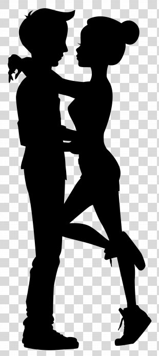 Silhouette Drawing Clip Art - Cute Couple Silhouettes Clip Art Image PNG