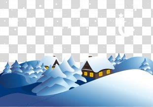 Snowflake Winter Euclidean Vector - Vector Snowy Mountain Village PNG