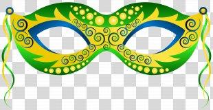 Mask Carnival Mardi Gras Clip Art - Green Yellow Carnival Mask Clip Art Image PNG