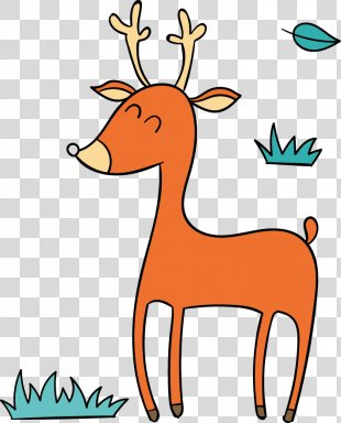 Design Center ARTPLAY Animal - Cute Cartoon Vector Orange Christmas Deer PNG