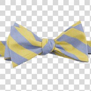 Bow Tie Necktie T-shirt Yellow Blue - Tie PNG