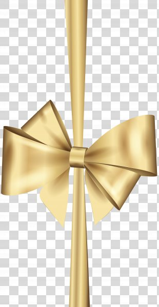 Gold Ribbon Christmas Clip Art - Gold Deco Bow Clip Art PNG