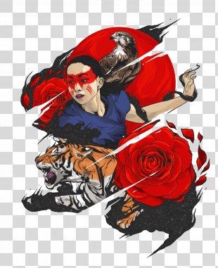 Tiger Poster Illustration - Creative People Tiger Floral Patterns Illustration PNG