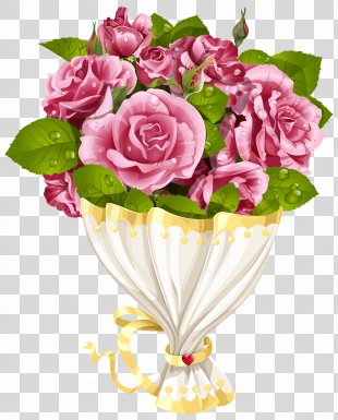 Flower Clip Art - Rose Bouquet With Heart Transparent Clip Art Image PNG