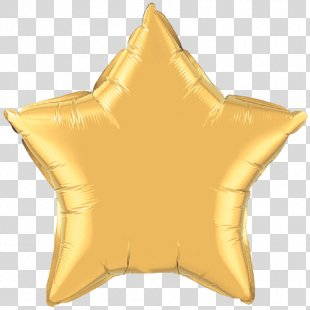 Mylar Balloon Gold Star Color - Gold Foil Paper PNG