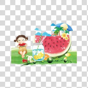 Watermelon Juice Summer Poster Illustration - Hand Painted Watermelon Poster PNG