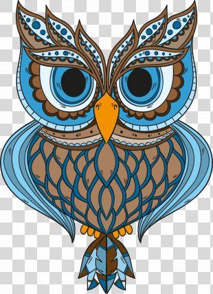 Owl Drawing Art Vintage Clothing - Blue Feather Owl PNG