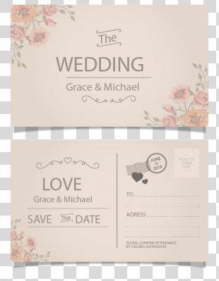 Wedding Invitation Postcard Paper Greeting Card - Vintage Postcard Style Wedding Invitation Card Vector PNG