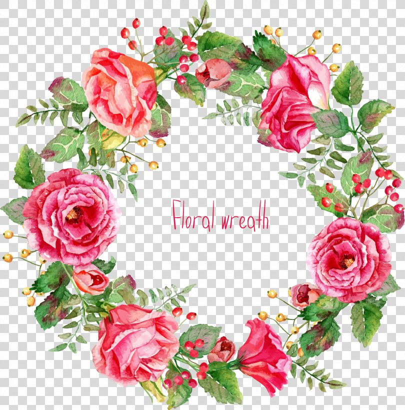 Pink Flowers Euclidean Vector, Beautifully -painted Rose Wreath Border PNG