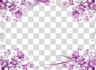 Borders And Frames Picture Frames Flower Purple Clip Art - Flower Border PNG